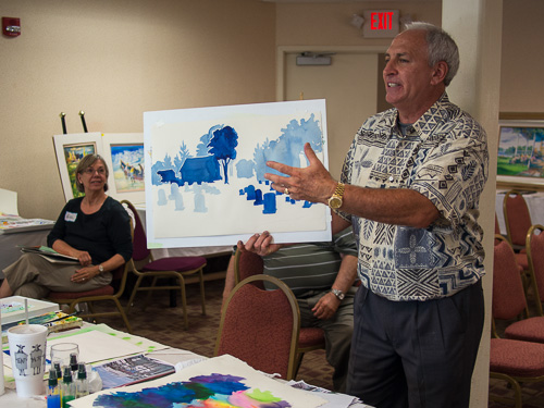 Tom Lynch discusses participant;s work during the 2012 Watercolor Workshop