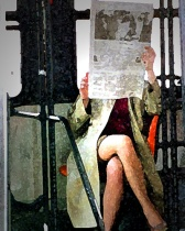 """Lady on Trolley with Newspaper"" by J.F Ferner"