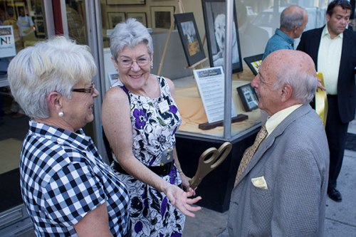 BAC Board Member Stephanie Godley and president Malinda Shaver chat with Mayor George Karos after the ribbon was cut.