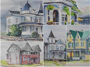 Watercolor architectural studies by Susan Parker