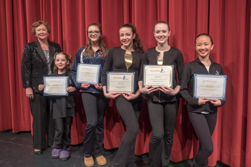 L-R- Jane Horst, Dance Works 2016 Coordinator, Arianna Pittinger, Emily Thompson, Tuition waiver winners for 2017. Rachael Avey, WVU Summer Dance Camp Scholarship, and Beka Avey, Radford University Summer Dance Intensive, Scholarship winner, and Genevieve Rochefort, Tuition Waiver winner.