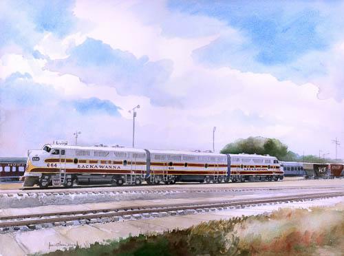 """""""Lackawanna Railroad F3A #664, F3B #664B & F3A #663 at Spencer, North Carolina"""" by James Mann"""