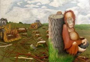"HONORABLE MENTION ""Palm Oil"" by Alex Barbour; Prisma colored pencil on illustration board; $1,000 (15 x 25 x 1)"