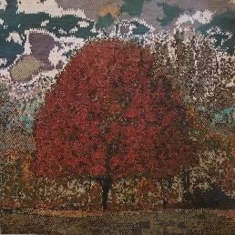 """Fall Fire"" by Corinne McAuley; Glass beads; $3,200 (20in W x 20inL x 0in D)"