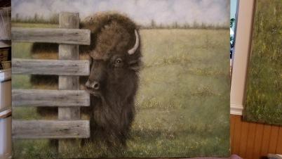 """""""Bison"""" by Deborah Digel; Oil on canvase; $6,000 (48x36x2)"""