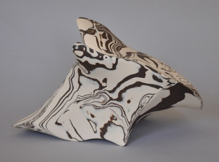 """Pliocene XXIX"" by Derek Walter; Porcelain & dark brown clay; $450 (W 13in x H 9in x D 10in)"