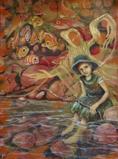 """HONORABLE MENTION """"In the River"""" by Jane Zich; Acrylic on marbled mulberry paper affixed to canvas; $950 ( framed: 18x14x0)"""