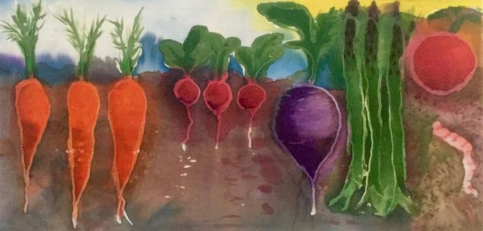 """""""Jewels of he Garden"""" by Jeanne McClure; Fabric dye on muslin; NFS (12 x 24)"""