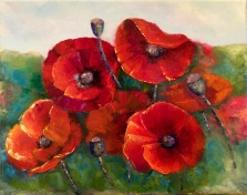 """""""Poppies"""" by Justine Godown; Oil on stretched canvas; $520 (17Wx14Hx2D)"""