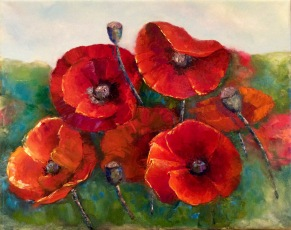 """Poppies"" by Justine Godown; Oil on stretched canvas; $520 (17Wx14Hx2D)"