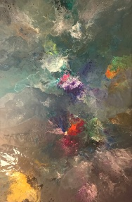 """""""Floral Waters 1"""" by Karen Smith; Acrylic on canvas; $1.200 (30x48x1.5in)"""