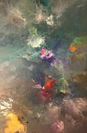 """Floral Waters 1"" by Karen Smith; Acrylic on canvas; $1.200 (30x48x1.5in)"