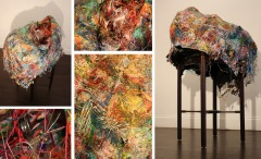 """Cel Side Table Barrage Baloon: by Naomi Dwyer; Sculptural Mixed Media Assemblage with paper mache and acrylic paint; $615 (43x21x26in)"