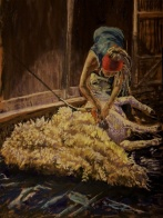 """""""The Sheep Shearer"""" by Patricia Wilt; Soft pastel; 800 (18x24)"""