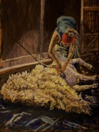 """The Sheep Shearer"" by Patricia Wilt; Soft pastel; 800 (18x24)"