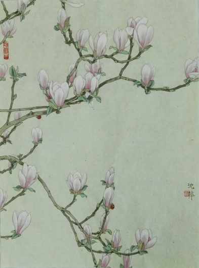 """""""Lily Magnolia Blossom (2)"""" by Ping Shen; Ink and colors on rice paper; $2,800 (25x35x1)"""