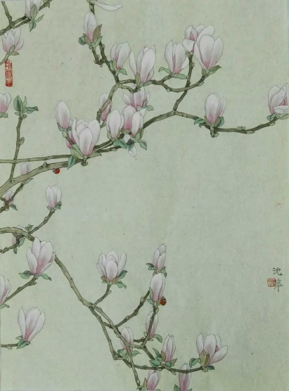 "HONORABLE MENTION""Lily Magnolia Blossom (2)"" by Ping Shen; Ink and colors on rice paper; $2,800 (25x35x1)"