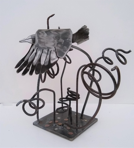 """""""Wren Leaving the Forest Floor: by Sally Myers; Welded steel, steel springs, rivets; $310 (10 inches x 11 inches x 10 inches)"""