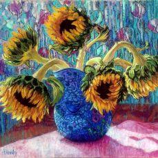 Merit_Award_SunflowersInBlueVase_HeatherHendry